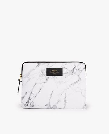 Pochette ipad White marble - Wouf