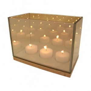 Tealight reflection gold triple - Klevering