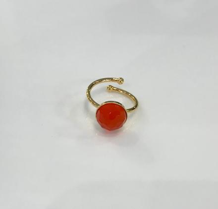 Bague Pom Pom ajustable orange - Eva Krystal