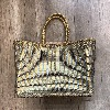 Cannage Lizard big Gold/Pewter - Dragon Bags