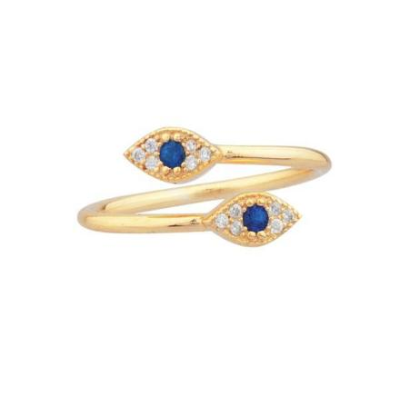 Double Evil Eye Ring YG 7 - Shashi Jewelry
